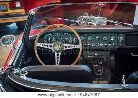STUTTGART GERMANY - MARCH 18 2016: Cabin of sports car Jaguar E-Type 4.2 Serie I roadster 1967. Europe's greatest classic car exhibition