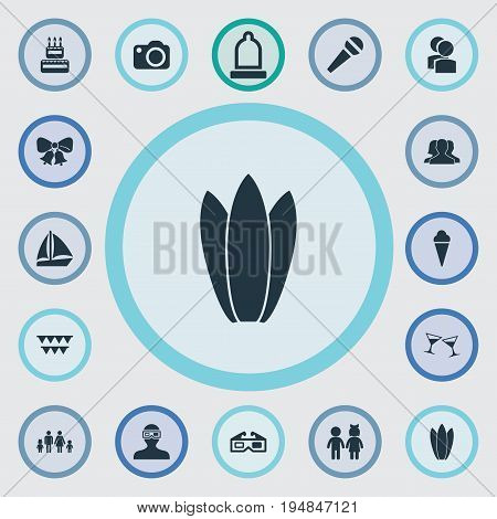 Vector Illustration Set Of Simple Celebration Icons. Elements Rubber, Garland, Photo Apparatus Synonyms Ice, Rubber And Movie.