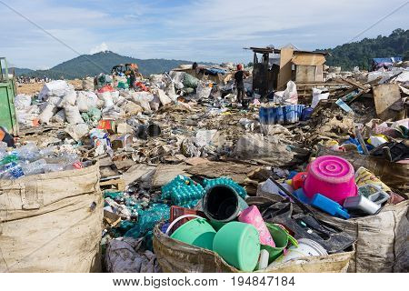 Kota Kinabalu, Malaysia - 09 July, 2017: Big Bags Contained Reusable And Recyclable Items And Materi