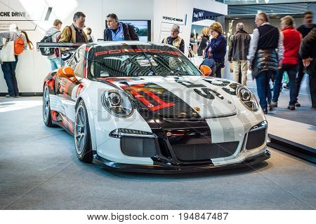 STUTTGART GERMANY - MARCH 18 2016: Sports car Porsche 911 GT3 Cup (Typ 911) 2016. Europe's greatest classic car exhibition