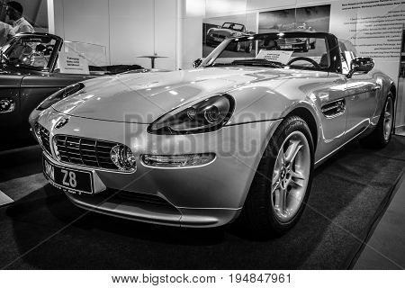 STUTTGART GERMANY - MARCH 18 2016: Sports car BMW Z8 2000. Black and white. Europe's greatest classic car exhibition