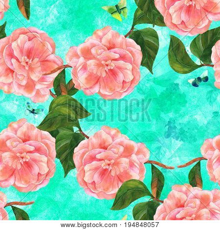Seamless pattern with vintage style watercolor drawing of a tender pink camellia flower in bloom, on a branch with green leaves, with teal and green butterflies, on vibrant texture with organic prints