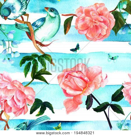 Seamless pattern of watercolor drawings of vibrant teal blue birds, blooming pink roses, camellias, peonies, and butterflies, hand painted on a teal blue striped repeat print