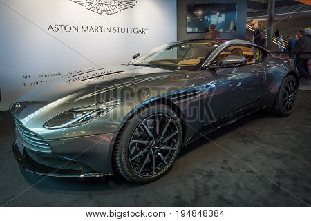 STUTTGART GERMANY - MARCH 18 2016: Grand tourer coupe Aston Martin DB10 2016. Europe's greatest classic car exhibition