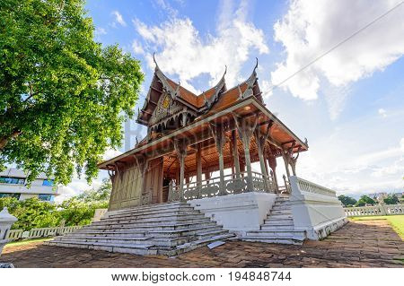 Bangkok , Thailand - 7 July, 2017 :Santi Chai Prakan Pavilion in Santichai Prakan Park in sunset time / Santichai Prakan Park landmark in Bangkok