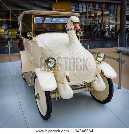 STUTTGART GERMANY - MARCH 18 2016: Vintage electric car Cygnet
