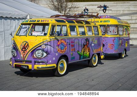 STUTTGART GERMANY - MARCH 18 2016: Van Volkswagen T1 Deluxe (Samba Bus) with a trailer 1966. Europe's greatest classic car exhibition