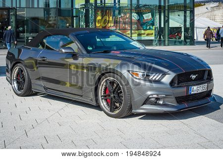 STUTTGART GERMANY - MARCH 18 2016: Muscle car Ford Mustang GT 550 Aero Edition 2016. Europe's greatest classic car exhibition