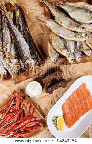 Dried fish in assortment for beer shot close-up