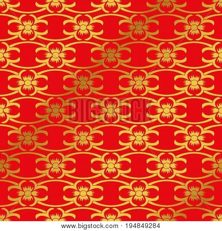 Seamless Golden Chinese Background Curve Cross Vine Flower Cross