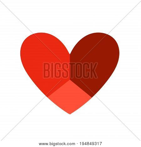 Vector heart icon in flat style. Original heart icon with three faces can be used as a logo.