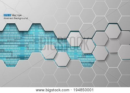 Digital code background, abstract vector illustration . Including binary code, hexagons . Used clipping mask.