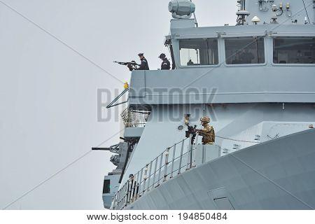 VARNA BULGARIA - April 29 2017: Right Board of HMS Daring During the Visit of Varna Port