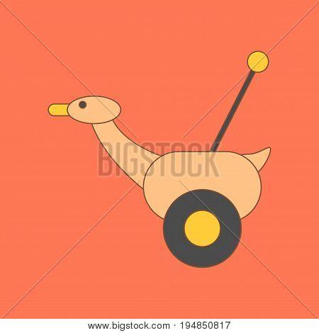 flat icon on stylish background Kids toy duck