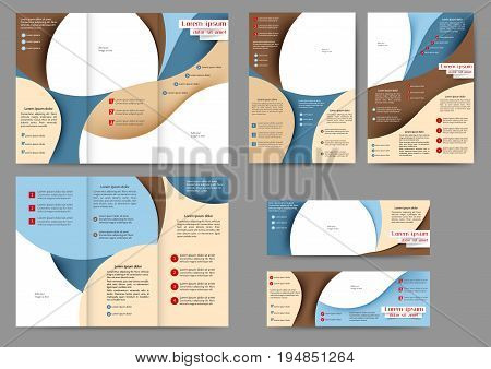 Set of color brochure template with abstract lines and waves