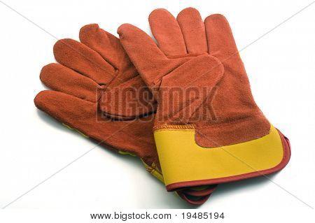 red garden gloves isolated on white