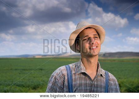 happy farmer in the fields