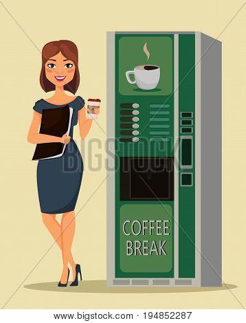 Business woman drinking coffee near coffee vending machine. Vector illustration