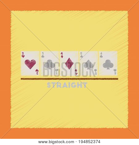 flat shading style icon poker cards straight