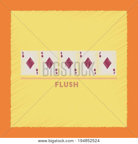 flat shading style icon poker flush cards