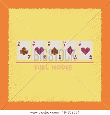 flat shading style icon poker full house