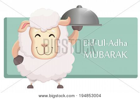Festival of sacrifice Eid-Ul-Adha. Traditional muslin holiday. Greeting card with funny sheep holding cloche. Vector illustration.