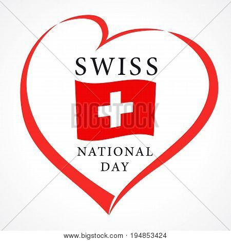Swiss National Day greeting card. Vector illustration for 1 august Switzerland day banner background with national flag and lettering in red heart