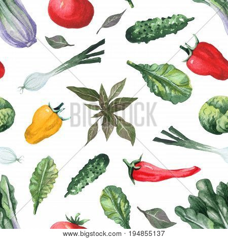 Seamless pattern with fresh vegetables. Watercolor painting of chinese cabbage, green onion, cucumber, tomato, pepper, chilli, basil and salad leaves.