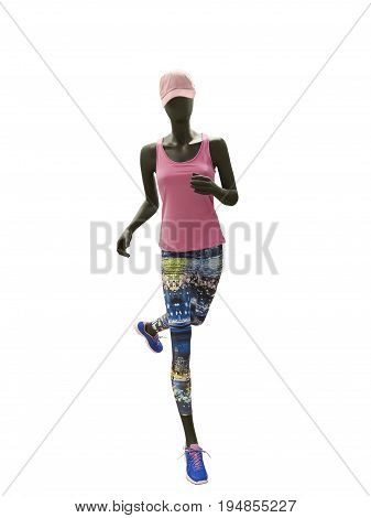Running female mannequin isolated on white background. No brand names or copyright objects.