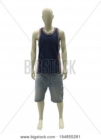 Full-length male mannequin dressed in sleeveless sports shirt and shorts isolated on white background. No brand names or copyright objects.