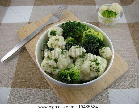 Mixed broccoli and cauliflower salad with vinaigrette
