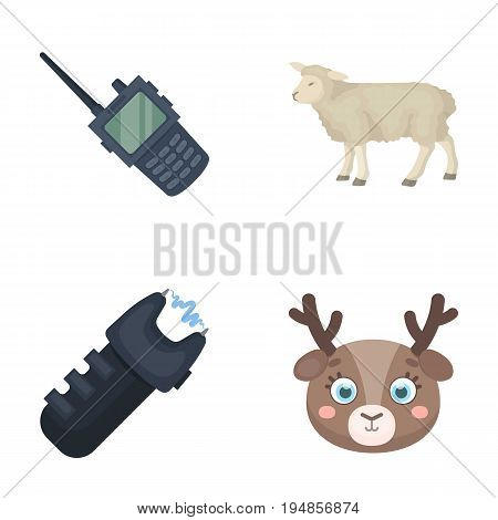 police, animal and other  icon in cartoon style. animal husbandry, protection icons in set collection.