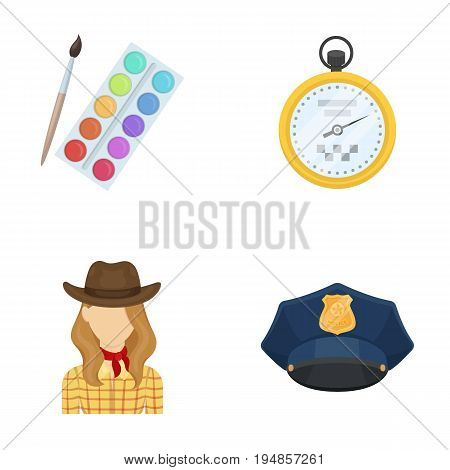 art, rodeo and other  icon in cartoon style.Maintenance, security icons in set collection.