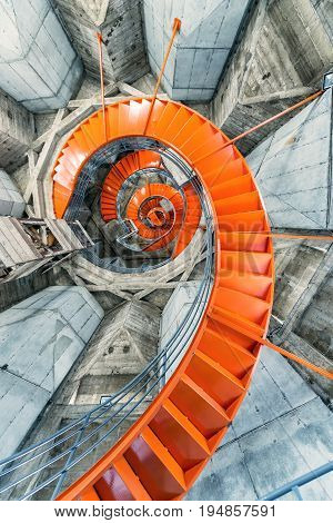 Orange Spiral Staircase