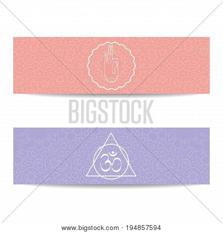 Yoga studio template. Set of horizontal pink and purple flyers with chakra and mandala symbols. Design for yoga studio, center, classes, poster, magazine, invitation, gift certificate and presentation