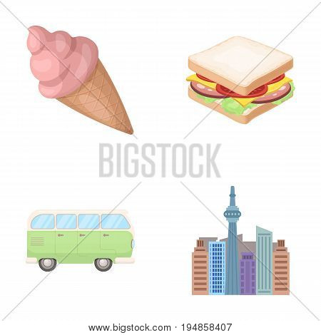 skyscraper, Transport and other  icon in cartoon style.fast food, travel icons in set collection.
