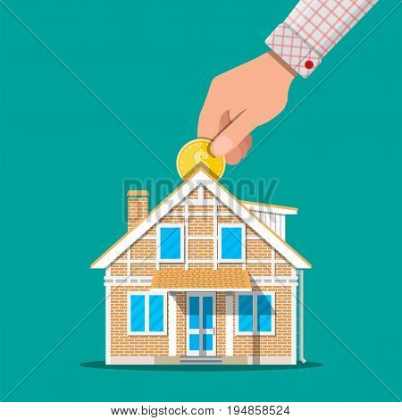 Hand put coin in piggy bank house. Vector illustration in flat style