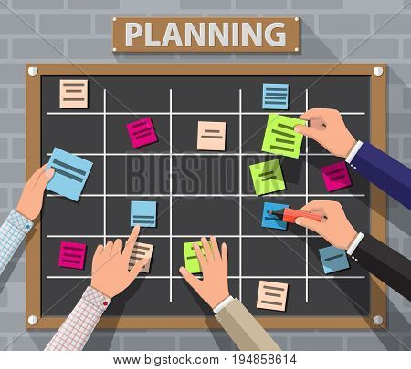 Bulletin board hanging on brick wall full of tasks on sticky note cards and hands. Development, team work, agenda, to do list. Vector illustration in flat style