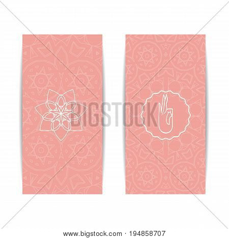 Yoga class template. Set of vertical pink flyers with chakra and mandala symbols. Design for yoga class, studio, spa, center, classes, magazine, invitation, gift certificate and presentation