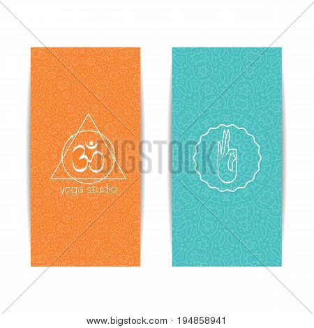 Yoga class template. Set of vertical orange and turquoise flyers with chakra and mandala symbols. Design for yoga class, studio, spa, center, classes, invitation, gift certificate and presentation