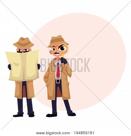 Detective character with magnifying glass, sleuthing, disguising, cartoon vector illustration with space for text. Funny detective character set