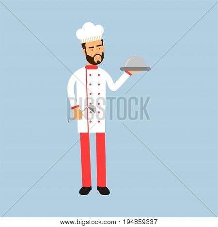Male chef cook character in uniform holding platter cloche vector Illustration on a light blue background