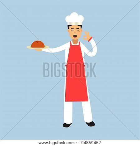 Male chef cook character in uniform holding a cake on a plate and giving a perfect ok delicious cook gesture vector Illustration on a light blue background.