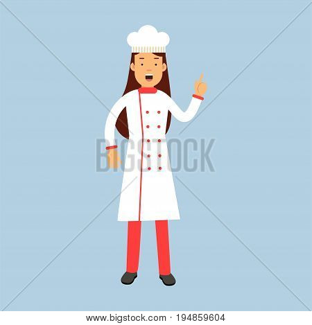 Female chef cook character in uniform showing hand gesture with a raised index finger vector Illustration on a light blue background