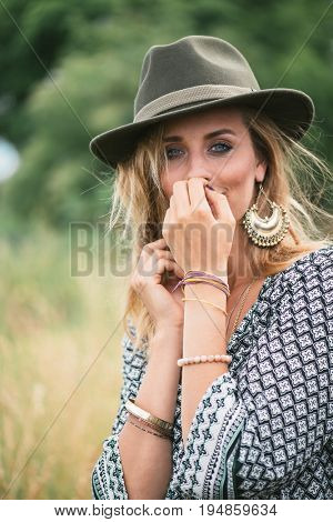 Beautiful shy woman portrait