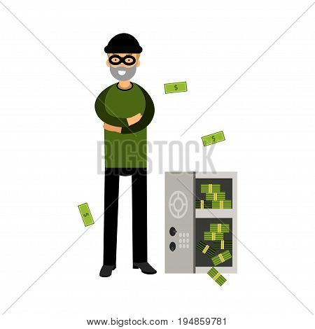 Professional burglar character in a mask opened a safe with money vector Illustration on a white background