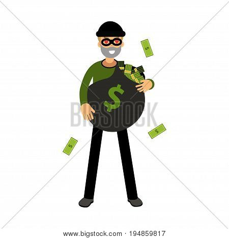 Professional burglar character with hearts in his eyes standing with big money bag vector Illustration on a white background