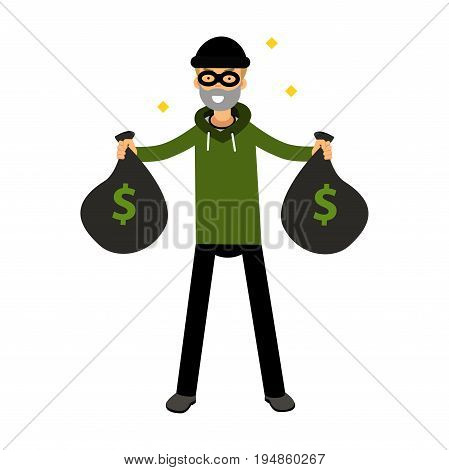 Robber character standing with two money bags vector Illustration on a white background