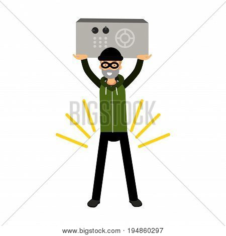 Thief character holding a safe in a highly raised hands vector Illustration on a white background