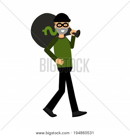 Masked thief character carrying a big money bag vector Illustration on a white background